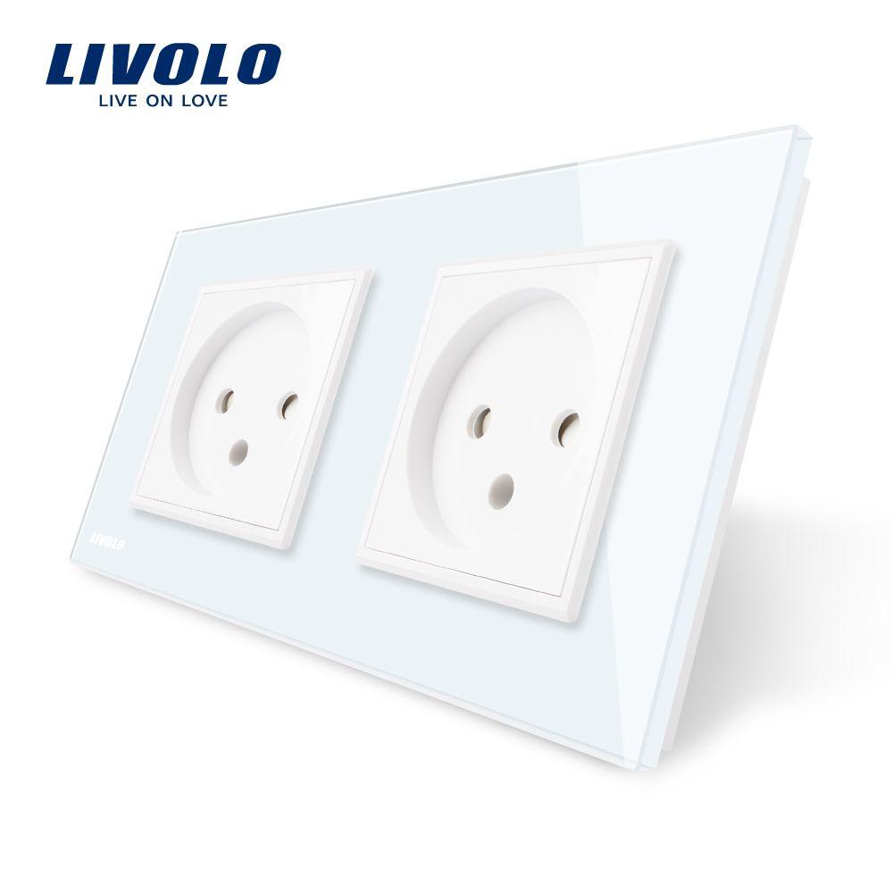 Livolo EU Standard double Israel Power Socket, Glass Panel, AC 100~250V 16A Wall Power Socket, VL-C7C2IL-11/12/13/15(4colors)