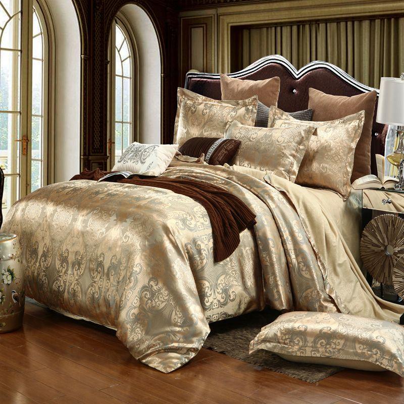Роскошные Постельное бельё жаккардовая Queen/King Размеры Набор пододеяльников для пуховых одеял Свадебные Постельное белье простыней
