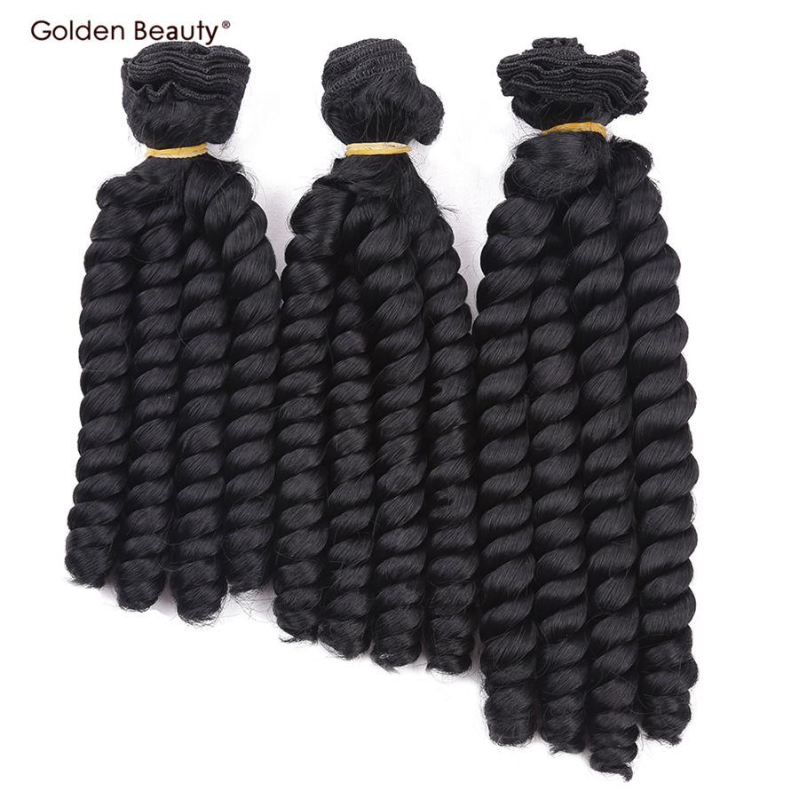 8 inch Bouncy Rizado a prueba de Calor Sintética Sew en Extensiones Del Pelo de la Armadura Del Pelo Bundles 3 unids/pack Golden Beauty