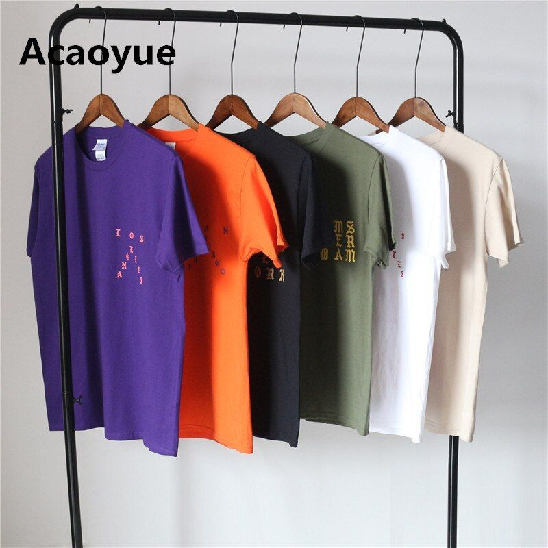 Acaoyue Hop Hop Pablo Kanye West New York I feel Like Paul White Black Camel Army Green Purple Orange Cotton T-shirt Men Women