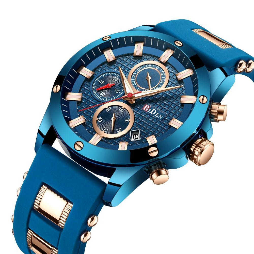 2019 Top Brand Luxury Blue Watch Men Quartz Analog Clock Silicone Strap 3 Sub-dial 6 Hands Calendar Fashion Sports Wristwatches