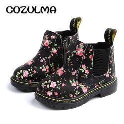 COZULMA Kids ботильоны для девочек и мальчиков Цветочный принт Челси сапоги для девочек осенние ботинки martin детская зимняя обувь размер 21-36