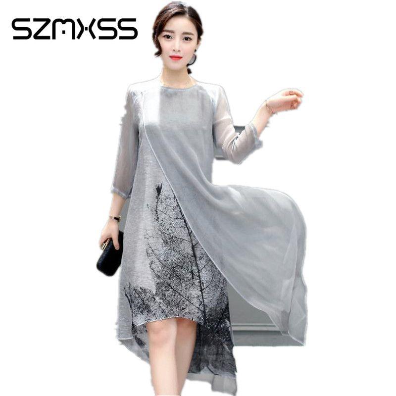 SZMXSS 2017 Autumn Women Cotton Linen Long Dresses Irregular Folk Art Ink Print Casual Plus Size Slim Dress Retro Printing Gray
