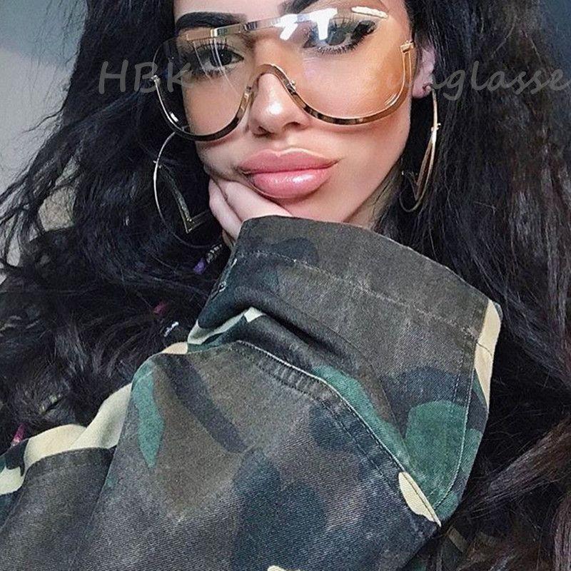 Date grand bouclier lunettes cadre surdimensionné alliage une pièce Sexy Cool lunettes de soleil femmes or clair lunettes dégradé pilote nuances