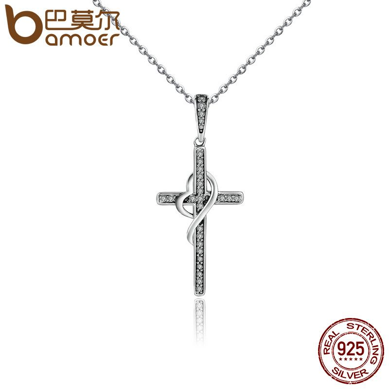 BAMOER New Arrival 925 Sterling Silver Faith In Heart Cross Crystal Women Pendant Necklaces Authentic Silver Jewelry Gift SCN104
