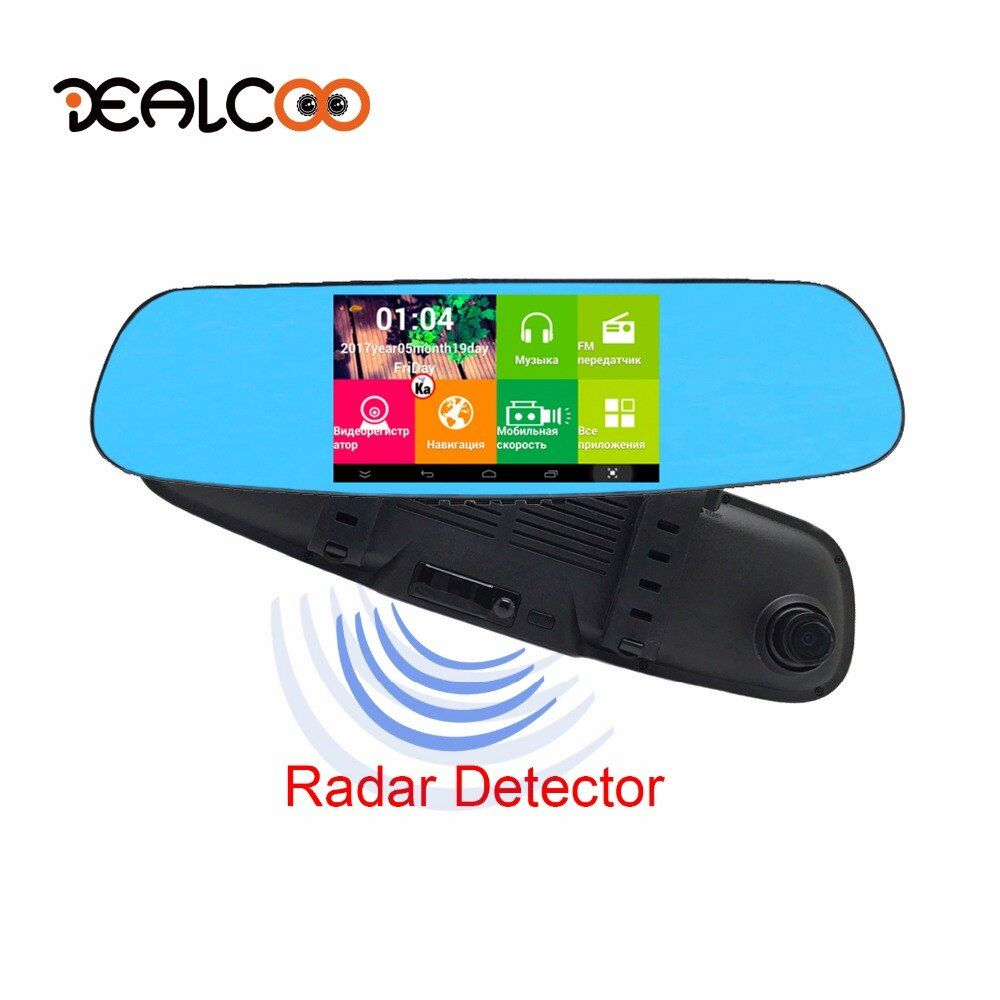 Dealcoo 5' Car DVR Digital Video Recorder 3 in 1 1080p HD Radar detector Dual lens Rearview Mirror Camera Dash Cam Registrator
