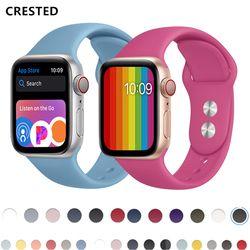 Crested Apple Watch 4 Tali untuk Apple Watch Band 44 Mm 38 Mm IWatch Band 42 Mm 40 Mm Sport Silikon Correa Watchbands 3 Aksesoris