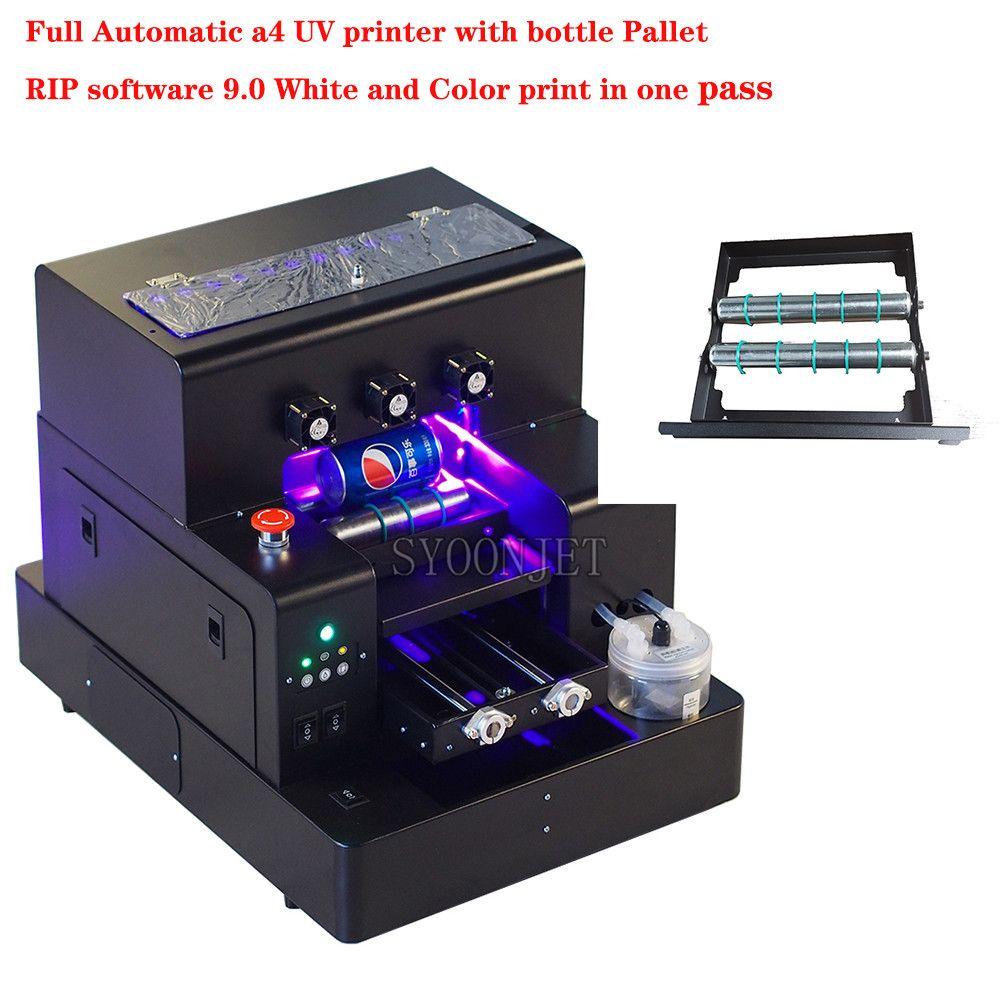 Fabrik Automatische A4 UV Led Drucker mit flasche halter Für telefon fall Zylinder holz glas druck mit RIP 9,0 software