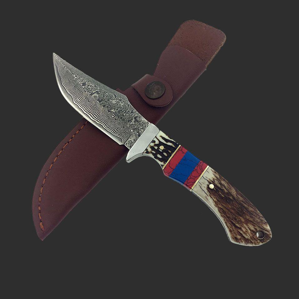 Damaskus reparierte blatt-jagd-messer messer hirschhorn Doppel farbe griff taktische Gerade messer mit mantel