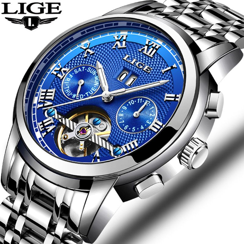 New LIGE Mens Watches Brand Top Brand Business Automatic Mechanical Watch Men's Waterproof Luminous Watch Relogio Masculino+Box