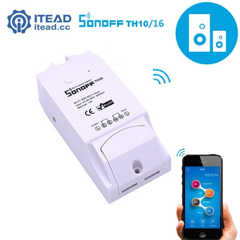 Itead Sonoff TH - TH10/TH16 WiFi Smart Switch Remote Controller Smartphone Temperature And Humidity Sensor for Smart Home