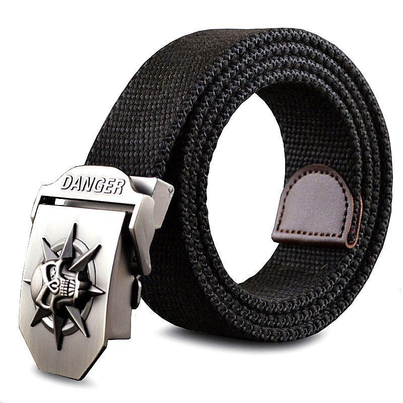 Mode hommes toile ceinture crâne métal tactiques tissé ceinture toile ceinture pantalons décontractés Cool sauvage cadeau pour hommes ceintures crâne grande taille