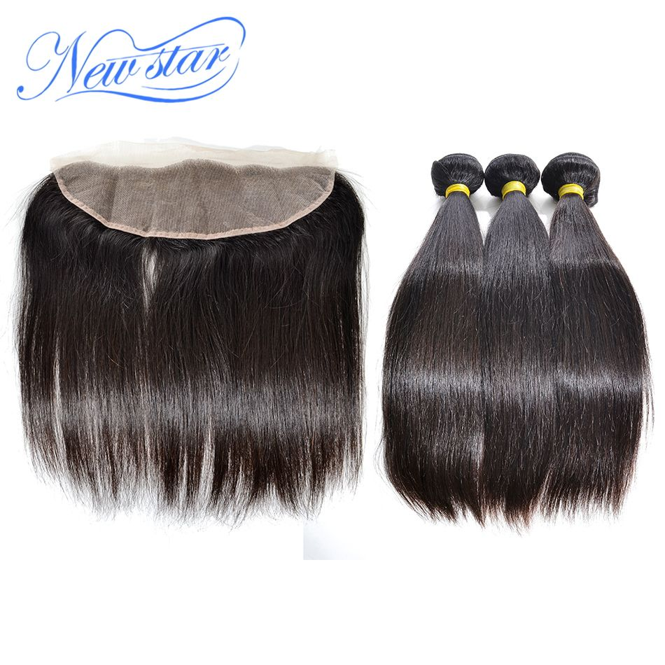 New Star Peruvian Straight Virgin Human Hair Weaving 3 Bundles Weft With A 13x4 Free Or 3 Part Ear to Ear Lace Frontal Closure