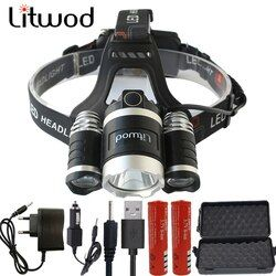 LED faro 12000 Lumen Chips 3x XM-L T6 LED cabeza lámpara linterna Lanterna 4 interruptor Modelo Led faro para elegir camping