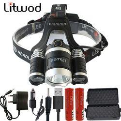 Litwod z20BR светодиодный фар 15000LM фары чипы 3x XM-L T6 светодиодный налобный фонарь для рыбалки и охоты фонарик 4 модели коммутатора светодиодный нал...