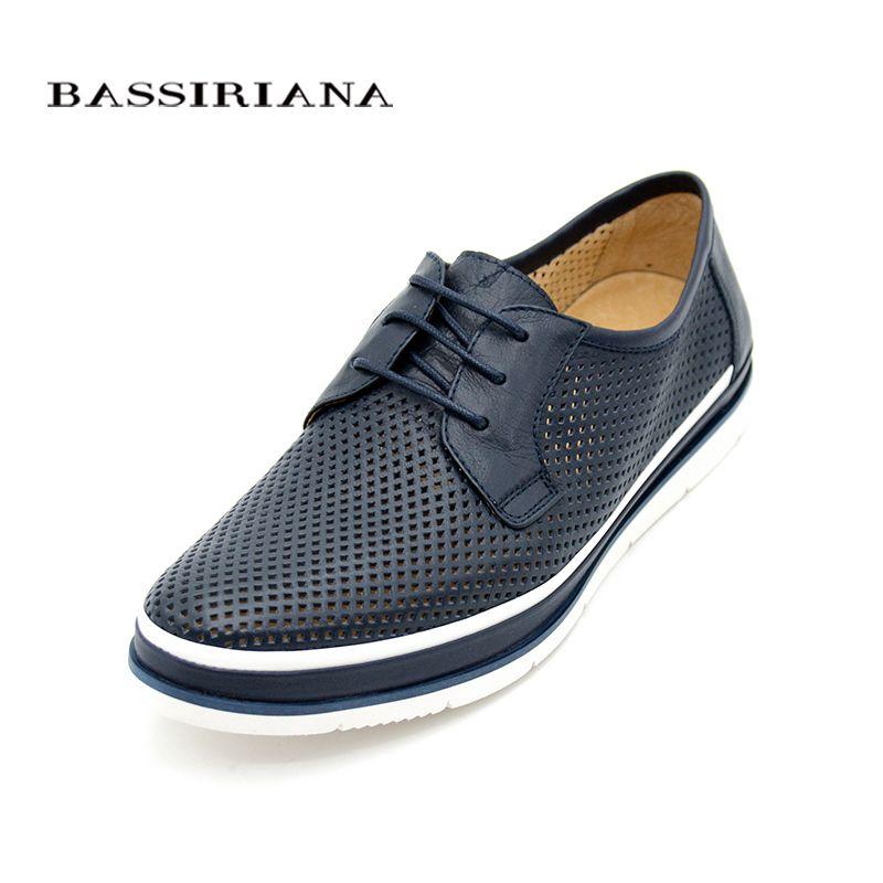 Кожаные туфли мужские одноцветное Кружево на шнуровке обувь весна/осень синий коричневый русский размер 39–45 Бесплатная доставка bassiriana