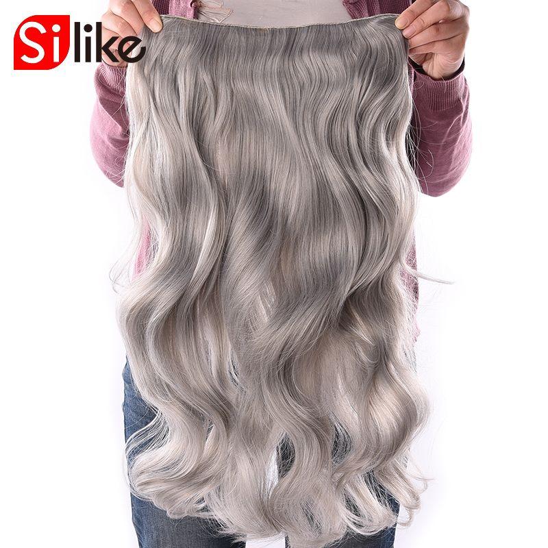 Silike 190 г 24 дюймов растягивается волнистые Волосыназаколках Kanekalon Синтетические пряди для наращивания волос термостойкие Волокно 4 Зажимы ...