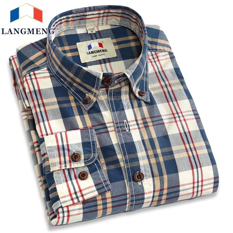 Langmeng new 2017 autumn <font><b>spring</b></font> mens plaid casual shirts long sleeve 100% cotton dress shirt men retro style camiseta masculina