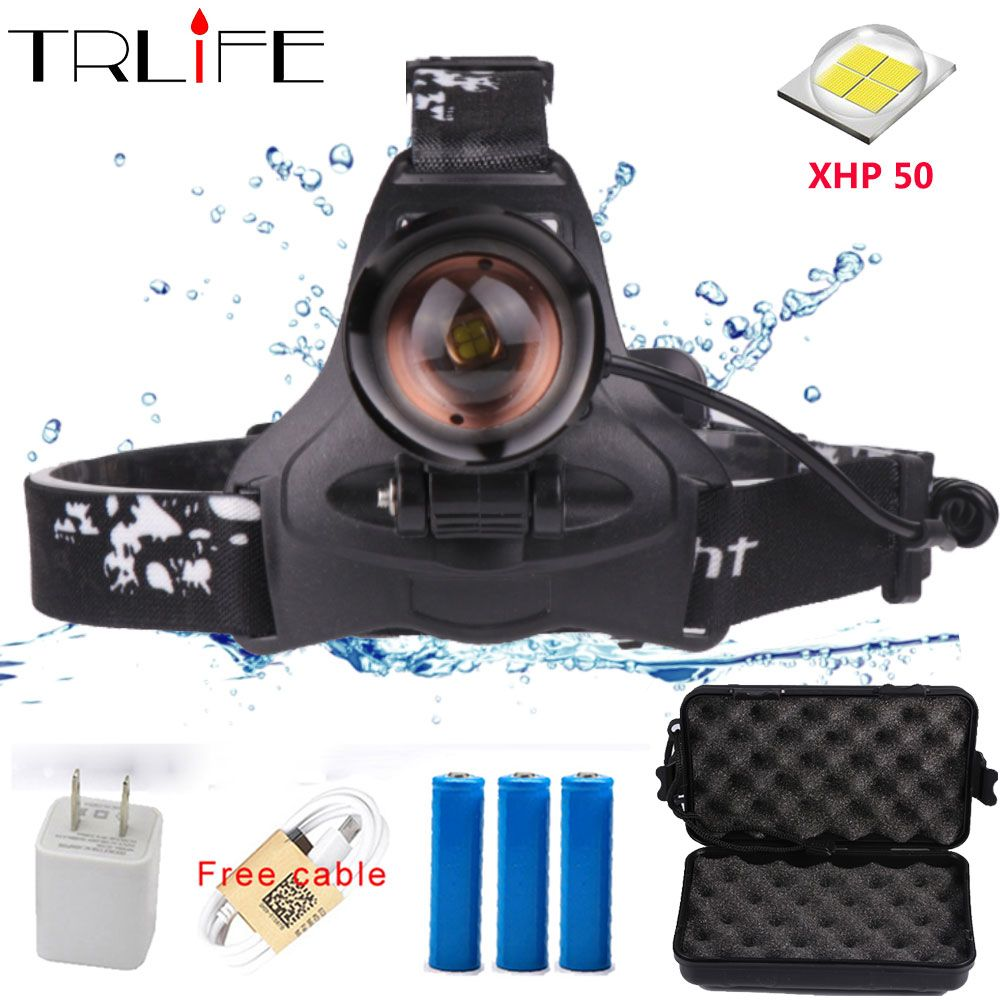 40W Chip XHP50 LED Headlight 40000Lum Led Headlamps Zoom Head Lamp Flashlight Torch Lantern Head light for Camping By 3*18650