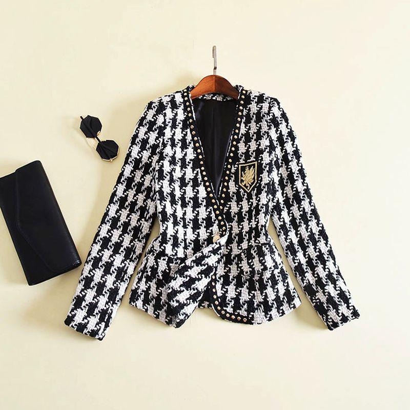 New Fashion Runway 2017 Designer Jacket Women's Long Sleeve Plaid Beaded Embroidery Tweed Jacket Outer Coat