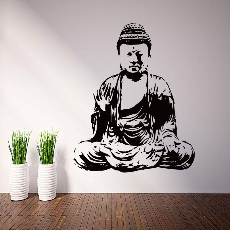 Art nouveau Design maison décor vinyle bouddha religion stickers muraux amovible coloré décoration de la maison pas cher PVC bouddhisme chambre autocollant