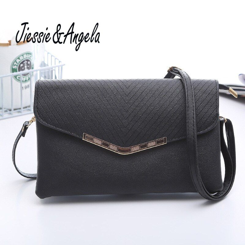 Jiessie & Angela 2017 Women Leather Envelope clutch bag Casual Female handbags Famous brands Messenger Bag Mini Cross Body
