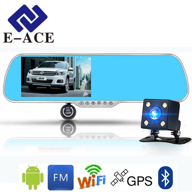 E-ACE 5.0 Inch Android GPS Car Dvr Radar Detector WIFI Bluetooth Automotive Rear View Mirror Camera Dashcam Dual Video Recorder