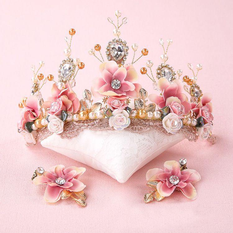 Mariée rose douce à la main dentelle perlée diadème corone couronne tocados para novias céramique fleur coiffure