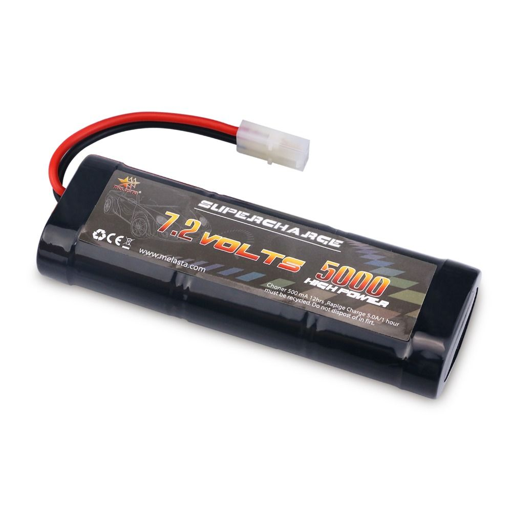 MELASTA RC 7.2V 5000mAh NiMH Battery with Tamiya Discharge Connector for RC Racing Cars Boat Aircraft