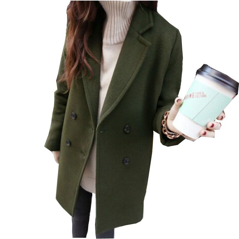 2017 Winter Cocoon Coat Women Famale Woolen Female Coats Casual Long Coat Spring Autumn Slim Artificial wool Outerwear Casaco