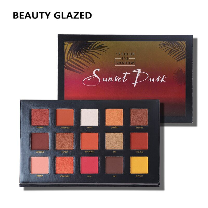 BEAUTY GLAZED Natural Eyes Makeup Easy To Wear Eyeshadow Natural Matte Shimmer Palette Long-lasting Eye Shadow 15 Colors in 1