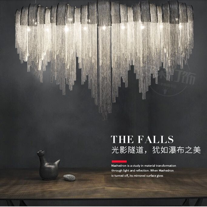 Post-modern living room simple tassels aluminum chain duplex building lamps and lanterns originality personality bar round bedro