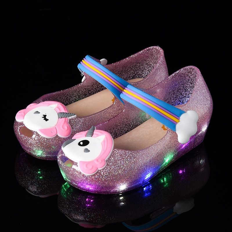 2018 new unicorn jelly LED flash glitter incense jelly children shoes fish head girl sandals 24-29