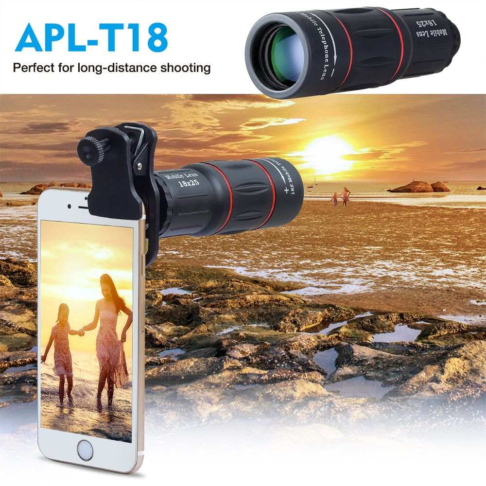 APEXEL Telefon Camera Lens universal 18X Telescope Zoom telescope Mobile Phone Lens for iPhone Xiaomi Smartphones APL-18XT