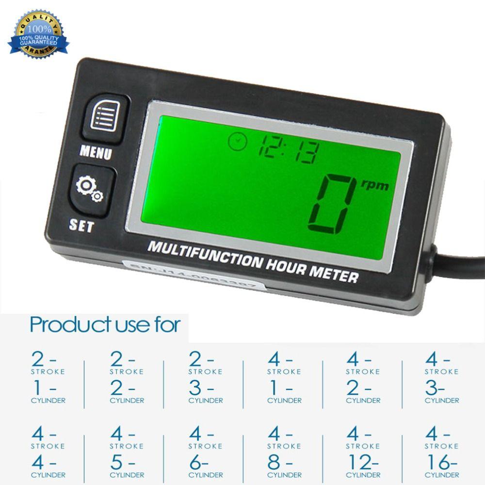 Tachymètre de moteur à essence inductif numérique fonctionnel rappel d'entretien compteur compteur moto pelouse RL-HM028