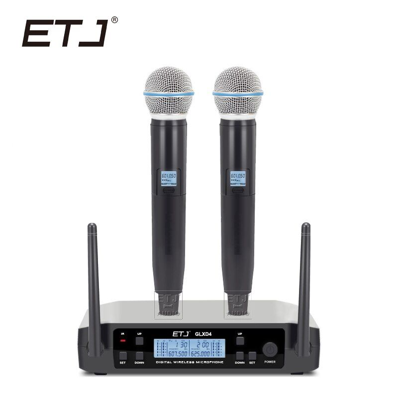 Free shipping!ETJ Brand UHF Dual Wireless Microphone System BETA58 GLXD4 MIC for Stage More Channel Than SLX24 And PGX24