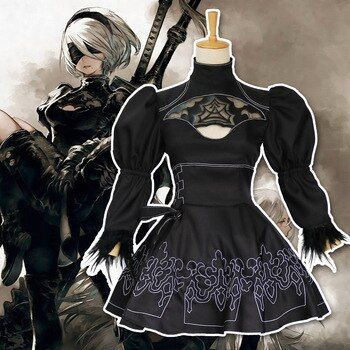 COYOUNG Brand Nier Automata Yorha 2B Cosplay Suit Anime Women Outfit Disguise Costume Set Halloween Girls Party Black Dresss