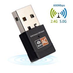 USB Wifi Adaptateur 600 Mbps Sans Fil Carte Réseau Ethernet Antena Wifi Récepteur USB LAN AC Double Bande 2.4 ghz 5 ghz pour PC