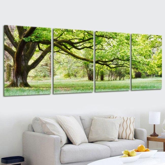 4 Панель дерево пейзаж холст картина маслом картина Домашний Декор Модульная стены картину для Гостиная без Рамки современные принты pr50