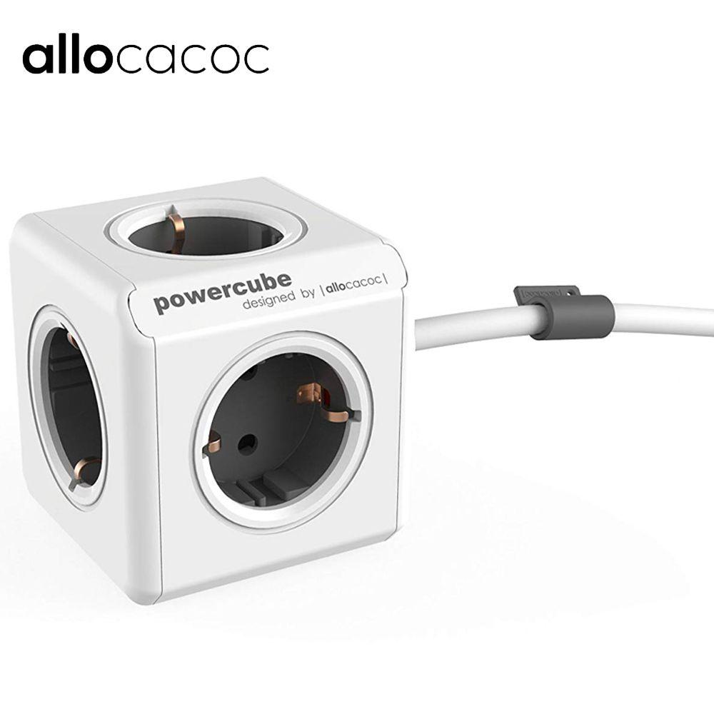 Prise DE courant étendue Allocacoc PowerCube prise DE courant 4 prises adaptateur 2 Ports USB avec câble 300cm et câble 150cm