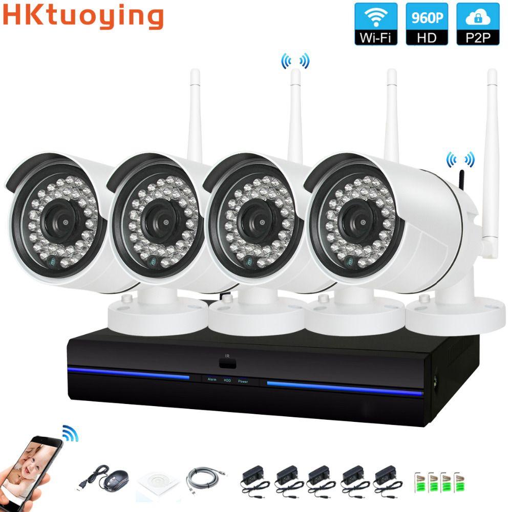4CH CCTV System Drahtlose 960 P NVR 4 PCS 1.3MP IR Outdoor indoor P2P Wifi IP CCTV Sicherheit Kamera System überwachung Kit