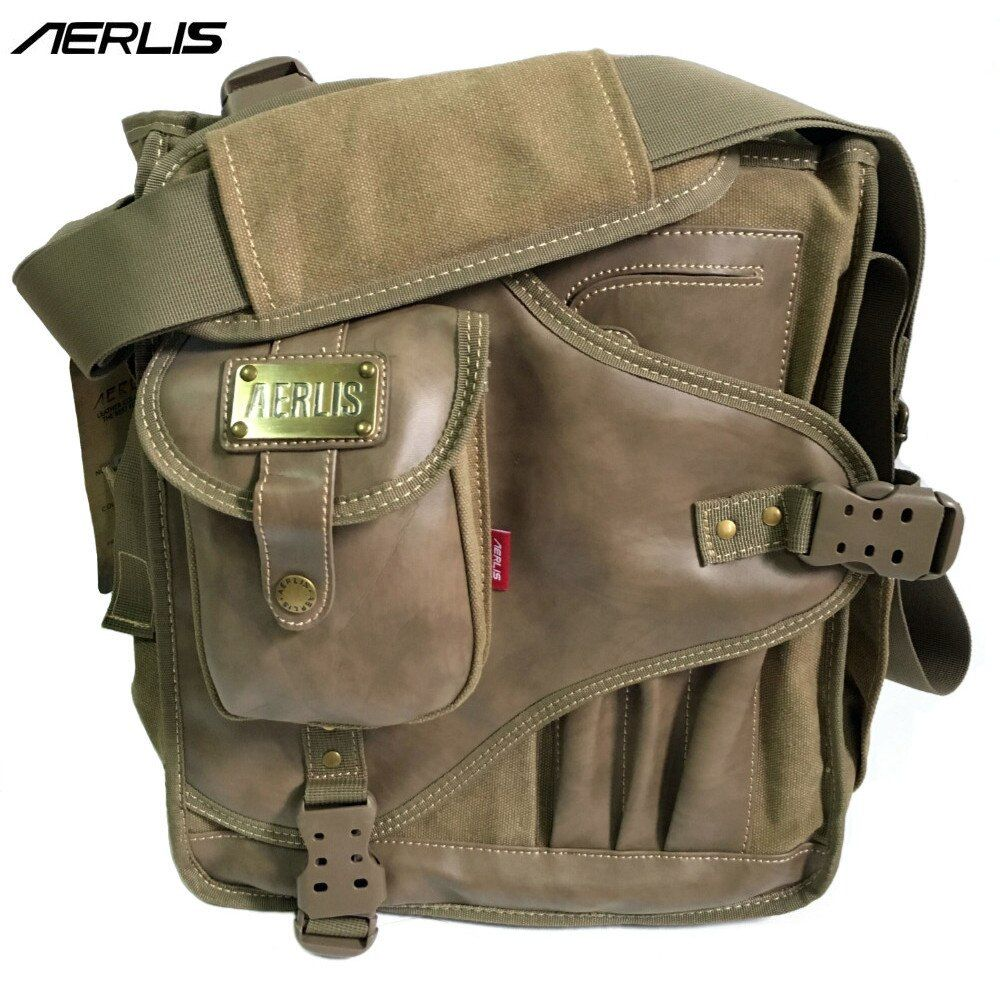 AERLIS Men Messenger Shoulder Bags Canvas Leather Multi Pocket Handbag Male Satchel Crossbody Sling Business School Bag 4505