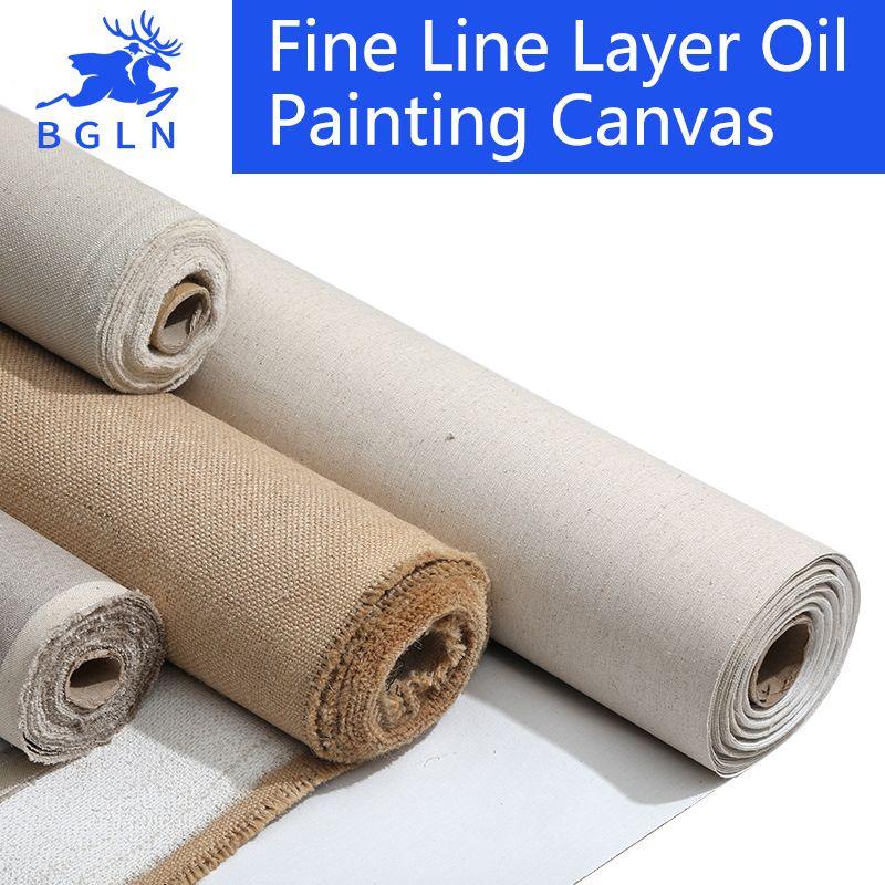 BGLN 5m toile vierge apprêtée de mélange de lin pour la peinture toile de peinture à l'huile de couche de haute qualité 5m un rouleau, largeur 28/38/48/58