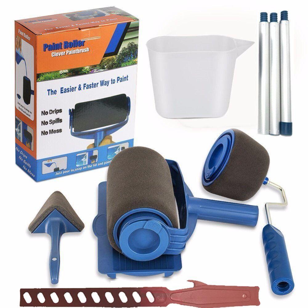 NEW Paint Runner Pro Roller Brush Handle Tool Flocked Edger Office Room Wall Painting Home Garden Tool Roller Paint Brush Set