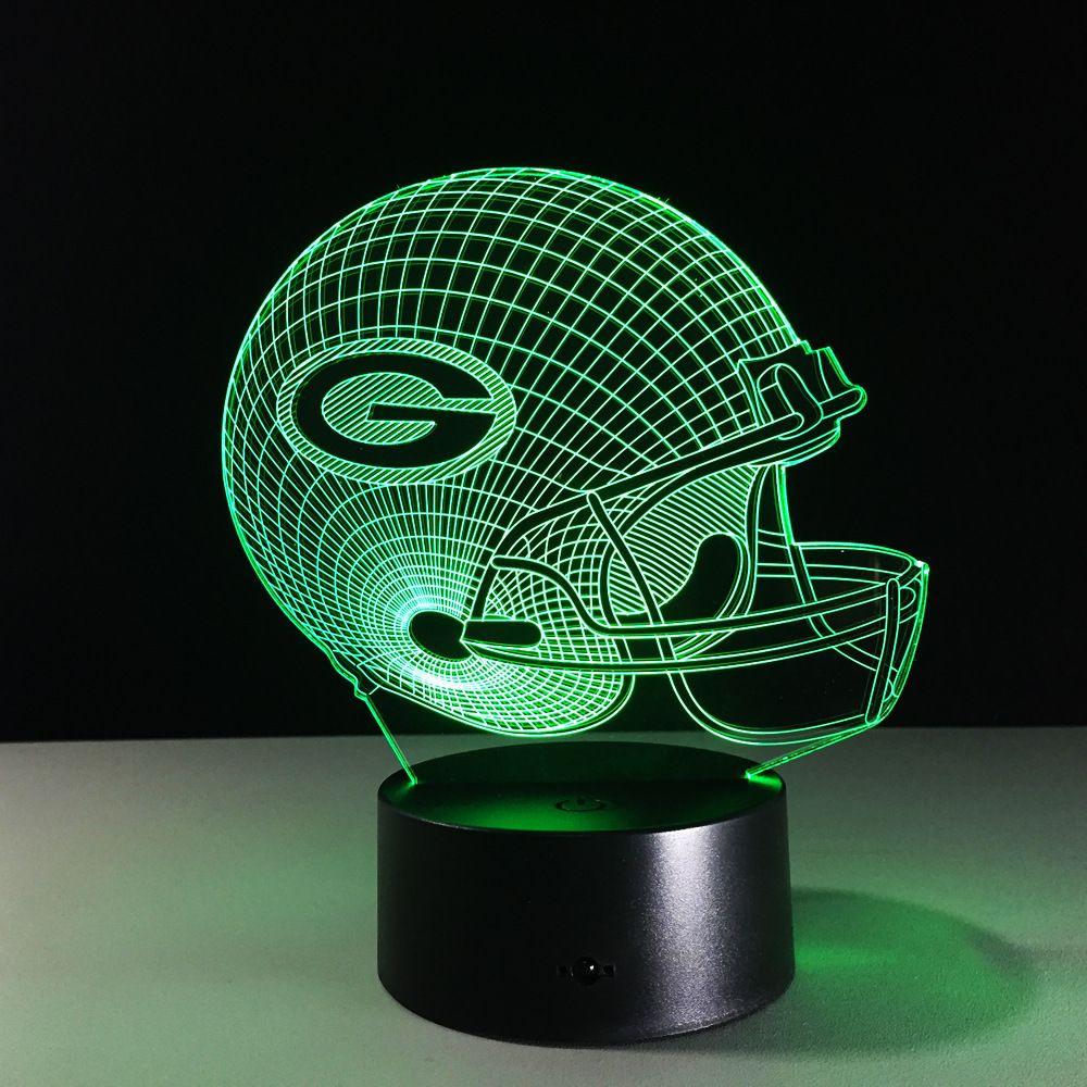 3D Lampe de Football Green Bay Packers Casque LED Lumière 7 Changement de Couleur Lampe de Table Coloré 3D Lumière de Nuit Pour Enfants De Noël cadeaux