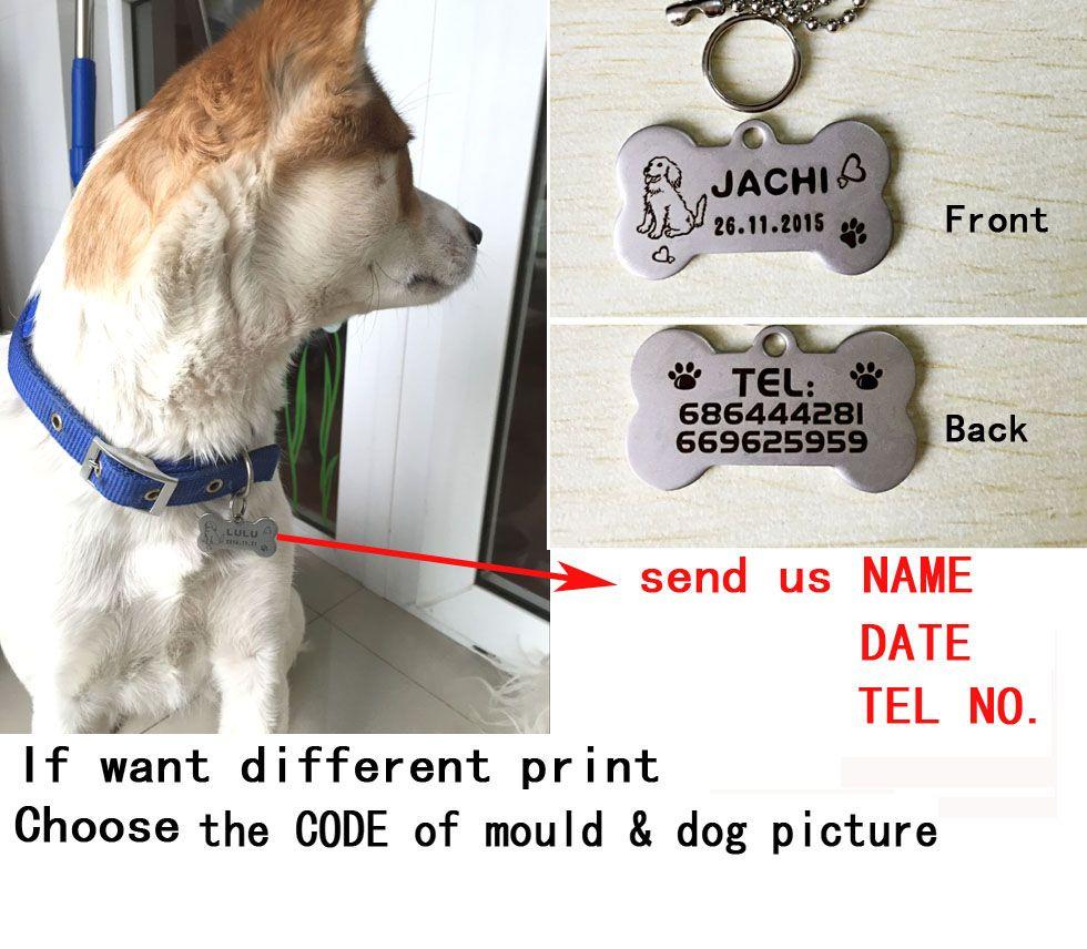 Haute qualité en acier inoxydable gravure carve chien nom tel étiquette chat chien chiot d'étiquette D'IDENTIFICATION d'animal familier 2X4 cm mémoire permanente d'étiquette d'animal familier incisione
