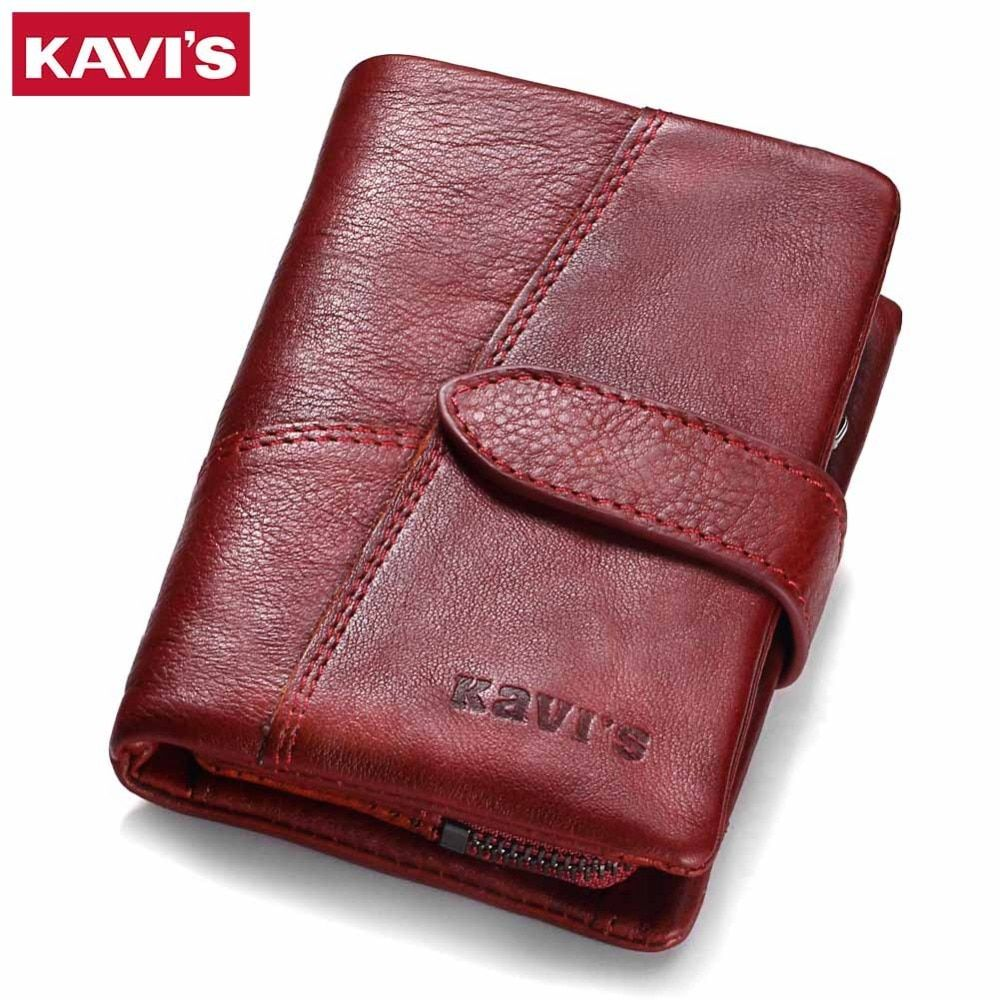 KAVIS 2017 Genuine Leather Women Wallet And Purses Coin Purse Female Small Portomonee Rfid Walet Lady Perse For Girls Money Bag