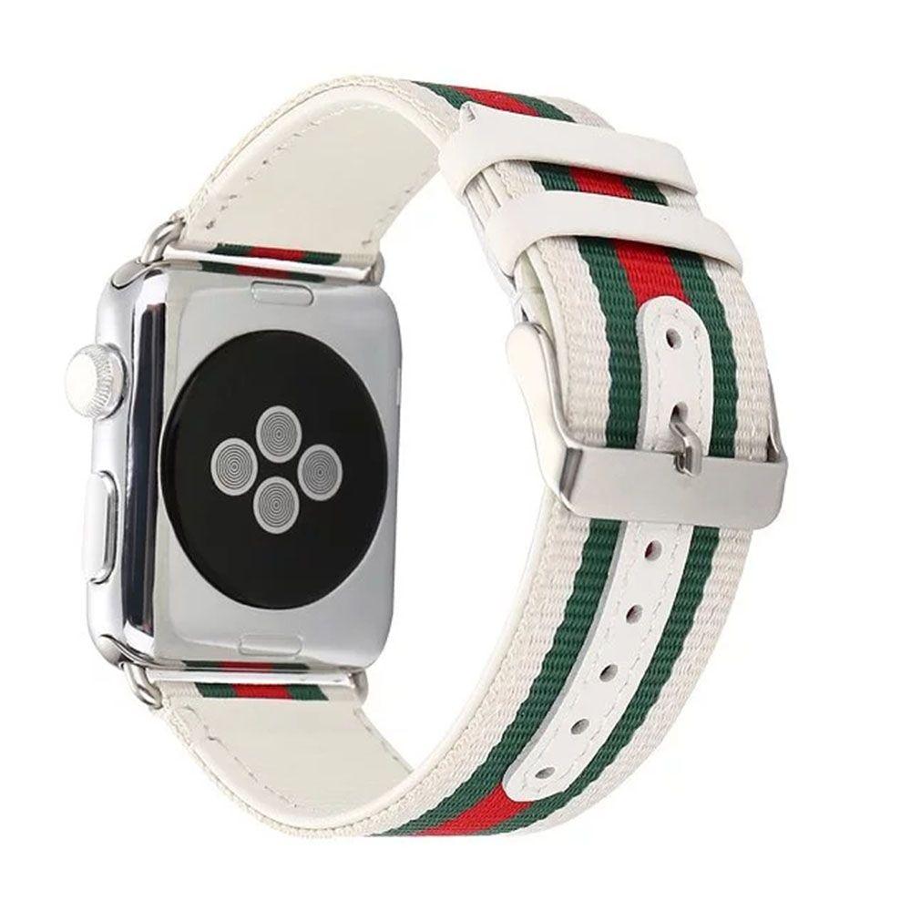 Rayé Nylon + Montre En Cuir de Courroie De Bande pour Apple Montre 38/42mm Montre ceinture Bracelet pour iwatch Série 1 2 3 Noir Blanc I37.