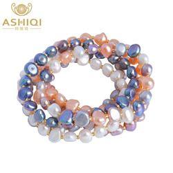 ASHIQI Freshwater Pearl bracelets for women Multi Color Baroque Pearl Crystal Beaded Bracelets & Bangles FI jewelry gift