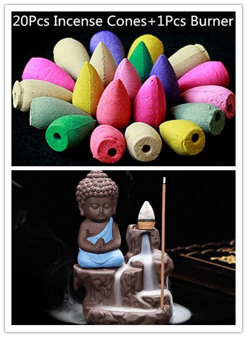 20 Pc Encens Cônes + Brûleur Creative Décor À La Maison Le Petit moine Petit Bouddha Encensoir Refoulement Encens Brûleur Utiliser Dans La Maison salon de thé